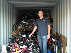 Brek with the bikes for Africa