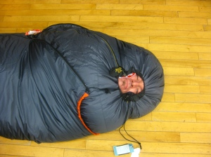 Testing out sleeping bags