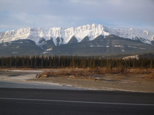 Beautiful mountain views from Jasper out to Hinton