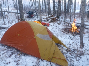Winter camping on route to Grande Prairie