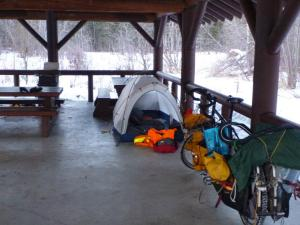 Camping at Liard Hot Springs