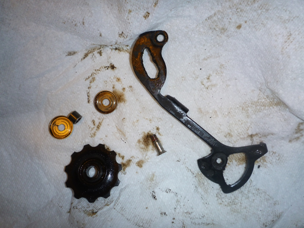 Both pulley wheels from the rear derailleur were seized.